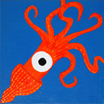 Orange blue squid