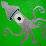 Silver green squid
