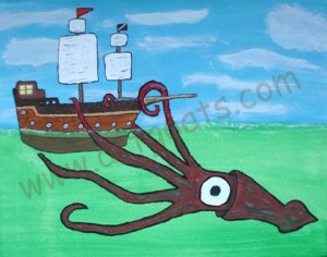 Giant Squid Vs  Frigate Giant Squid Attacking Ship