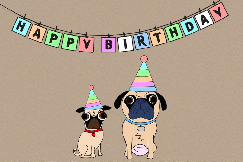 A Pugs Happy Birthday Greeting Card Art Goats